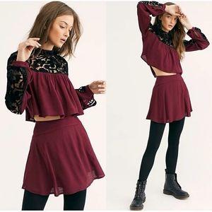 Free People Burgundy Mini Skirt